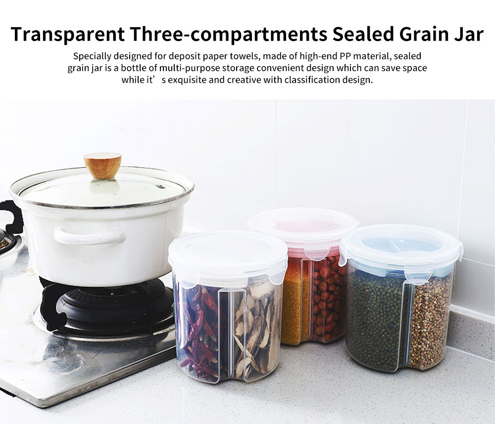 Multi-purpose Storage Convenient Sealed Grain Jar with Transparent Three-compartment and Grid Classification Design 0