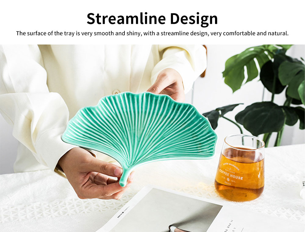 Creative Dessert Jewelry Storage Plate with Ginkgo Modeling & Streamline Design for Daily Decoration 3
