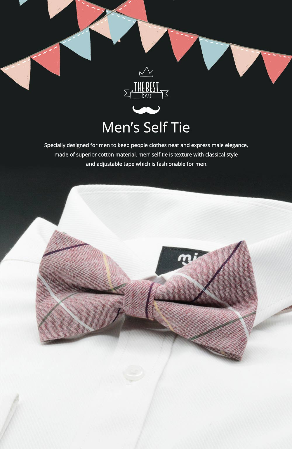 Men' Cotton Grid Self Tie Bow Ties, Unique Bow Ties with Various Styles for Groomsman Gets Married 0
