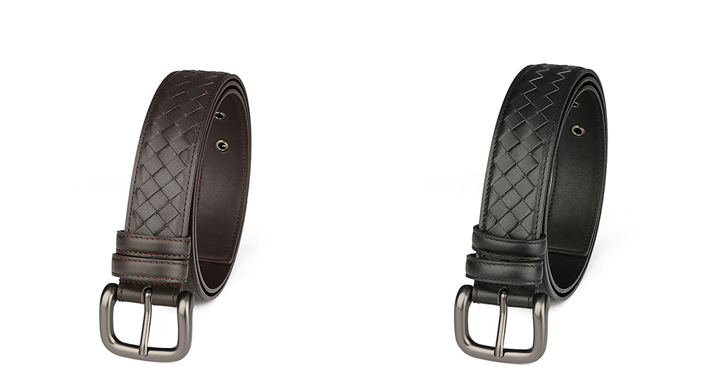 Father's Day Woven Men's Belt, First Layer Leather Belt with Texture Alloy Pin Buckle, Automatic Buckle Business Belt 8