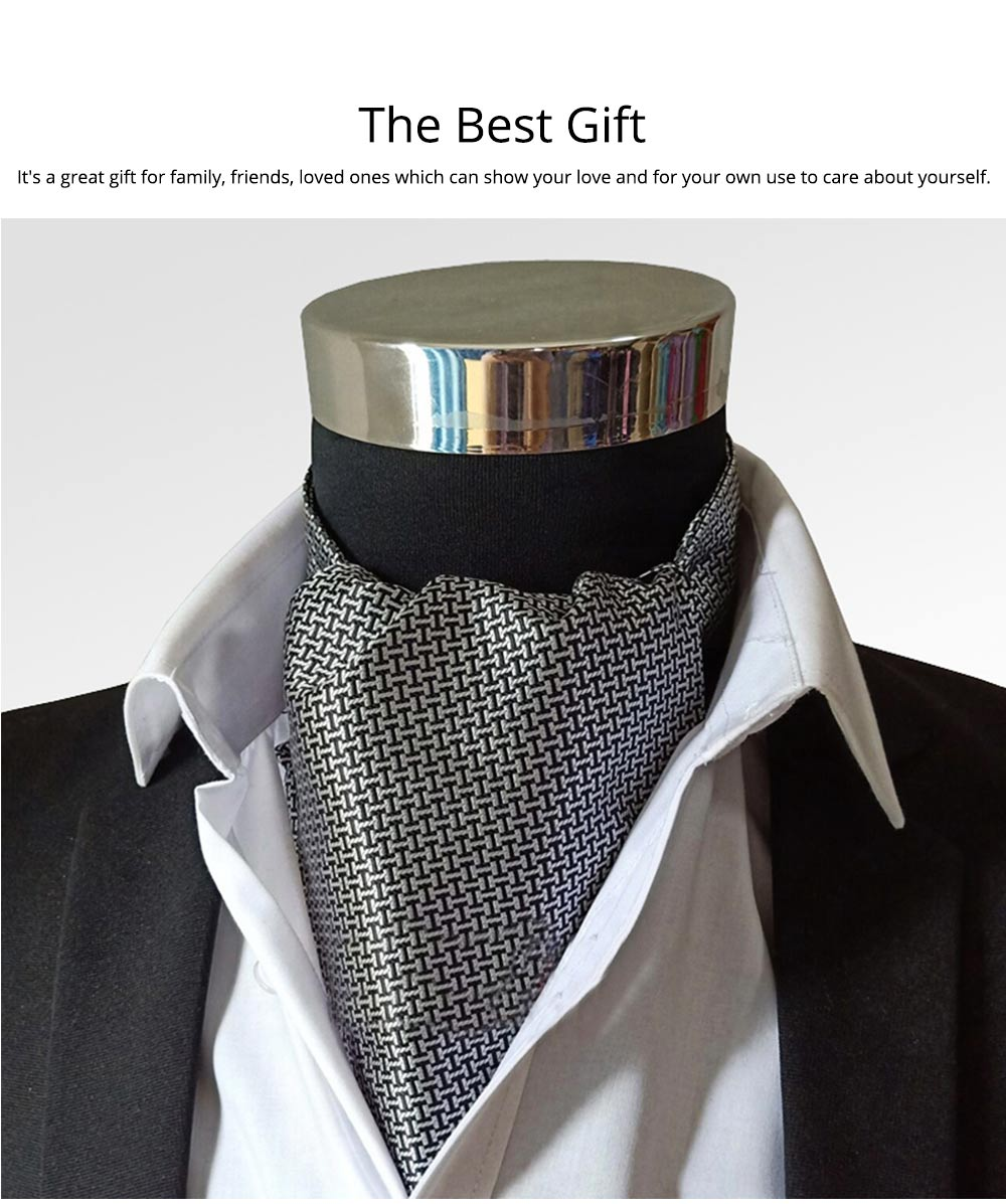 Men's Plaid Square with Pure Hand Hemming, Scarf Collar, Silk Scarves Preventing Bask in A Suit 5