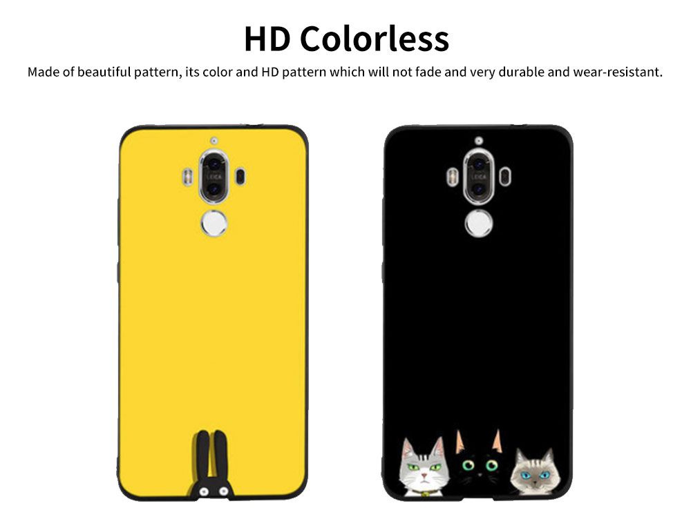 Non-drop Phone Case for HUAWEI Mate 20x/20, mate 9/9 pro, HD Colorless Painted Soft Shell Full Package with Black Background Design of Three Kittens 3