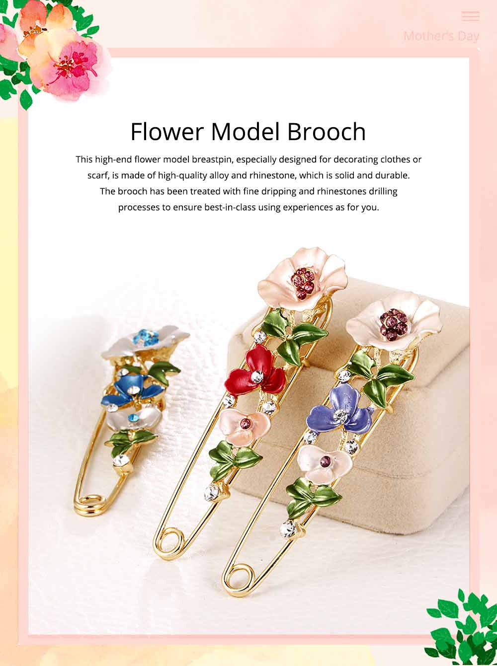 Flower Brooch for Women, High-end Fancy Oil Painting Brooches Pin Elegant Dresses Jewelry 0