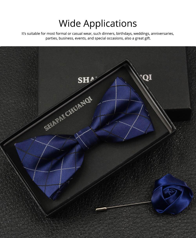 Men's Self Tie Bow Ties, Unique Grid Pattern Bow Ties, Various Styles for Groomsman Gets Married 6
