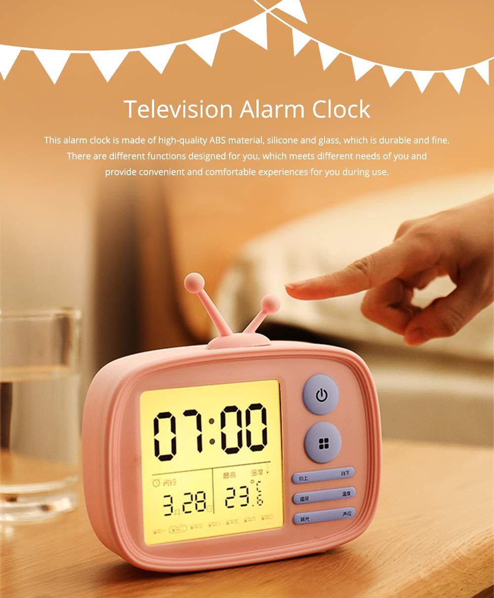 Creative Television Model Intelligent Digital Alarm Clock Watch, Stylish Funny Clock with Sound Reminder Two Light 0
