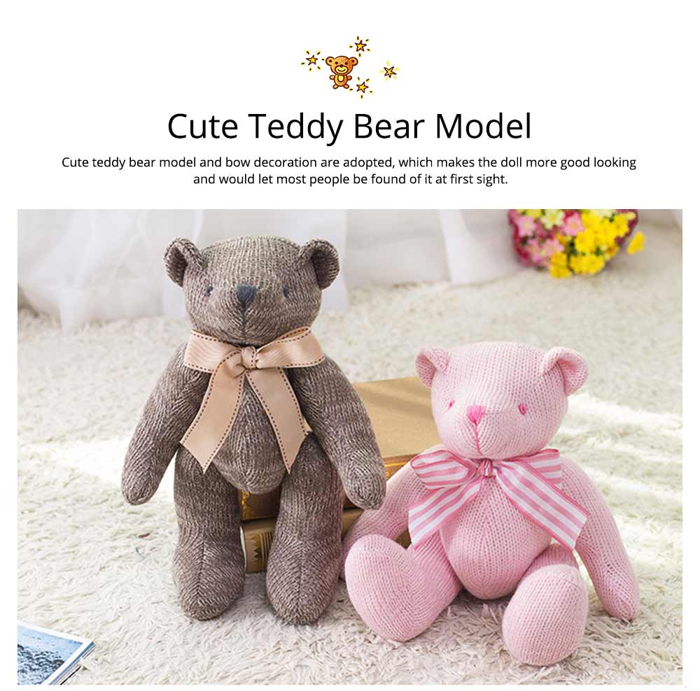 Cute Jointed Teddy Bear Doll with Bow Decoration, Animal Carton Fluffy Toy Birthday Present Gift for Children 9