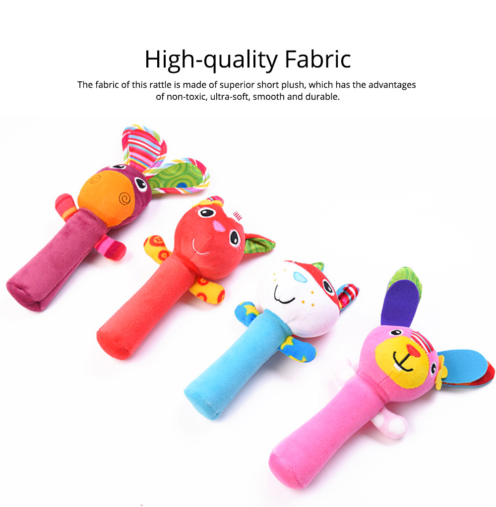 Colorful Cute Animal Model Rattle Pacification Toy for Infants, Ultrasoft Hand Grab Toy BB Stick Baby Early Education Toy 1