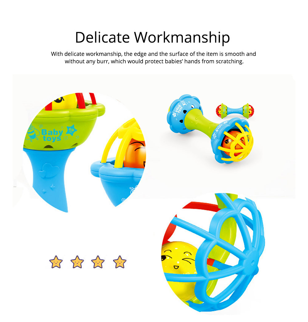 Soft Silicone Teether Plastic Hand Bell Hammer, Solid ABS Handbell Rattle Babies Early Education Toy 3
