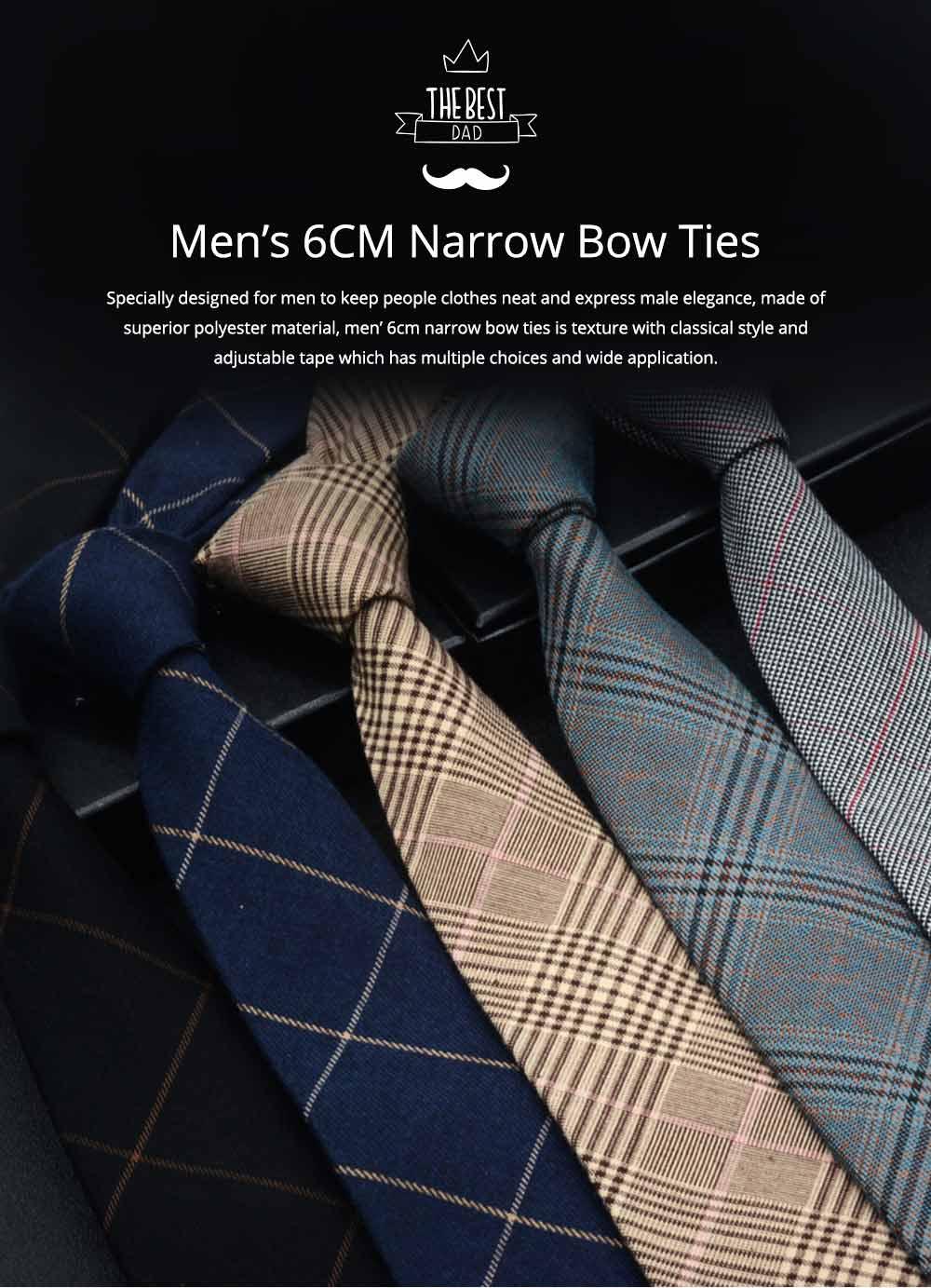 Men's 6cm Narrow Bow Ties, Handcraft Unique Stripe & Grid Pattern Business Neckties- Various Styles for Men 0