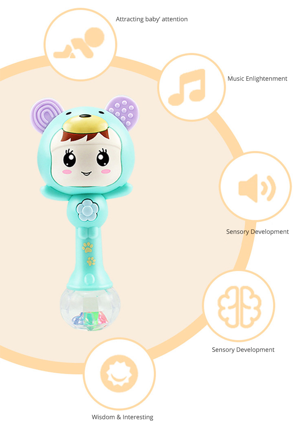 Creative Soft Rubber Babies Music Molar Bite Shaker Toy, Kids Toddler Infant Educational Teething Teether Toy 2