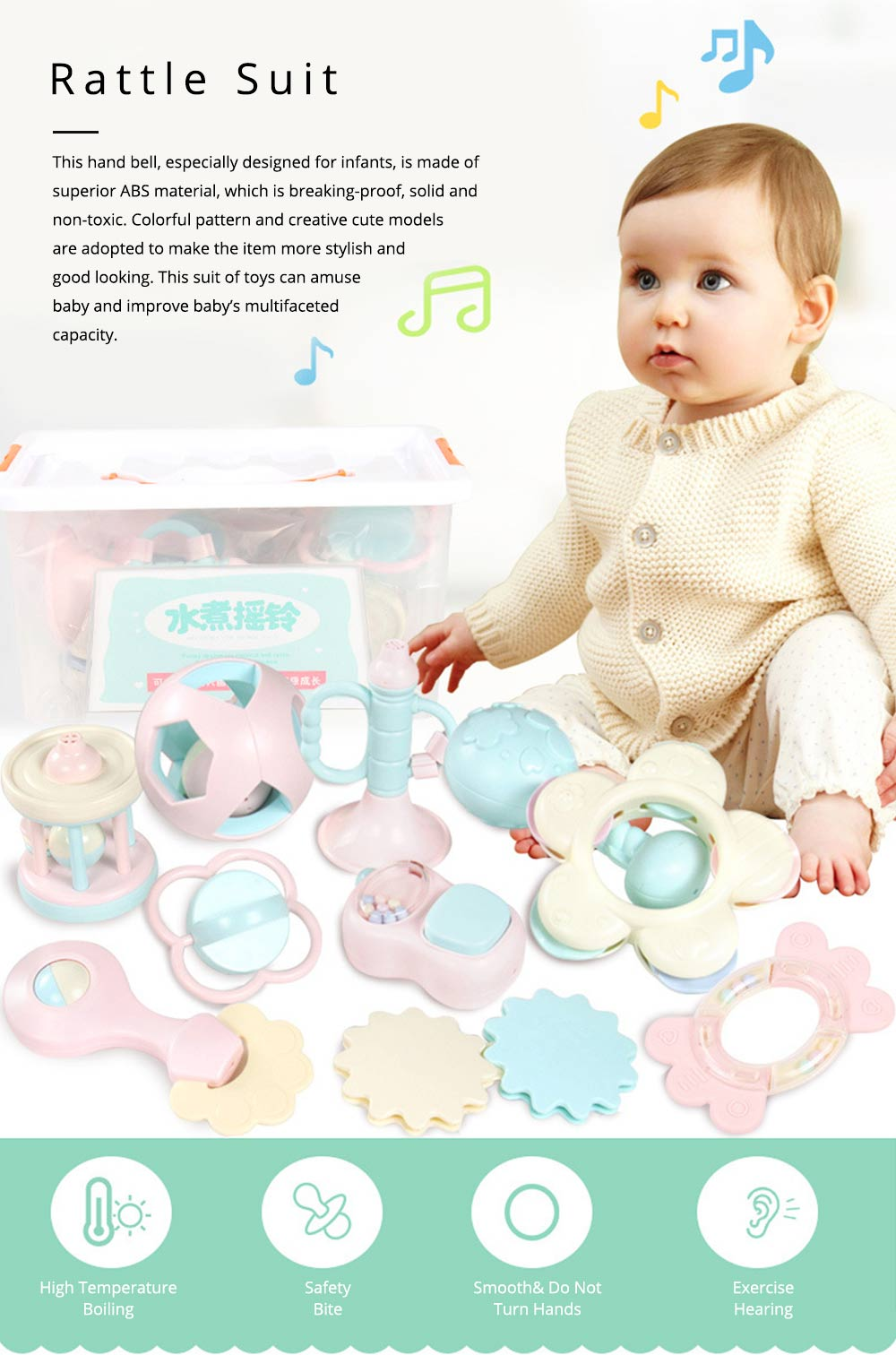 Cute Fancy Rattle 5PCS 8PCS 10PCS Suit for Infants, Durable ABS New-born Baby Hand Bell Puzzle Toy, Can Be Boiled 0