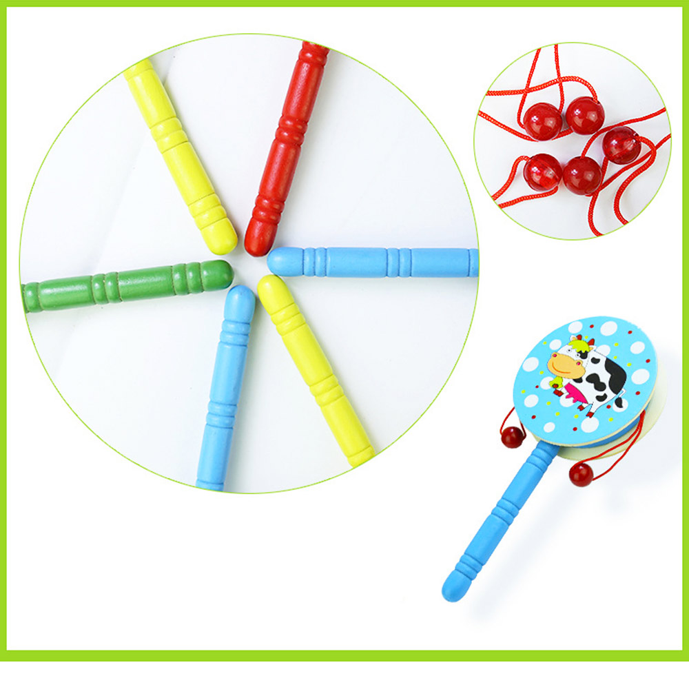 Classical Chinese Style Wooden Rattle for Children, Cute Cartoon Painting Pellet Drum Musical Toy for Early Education 2