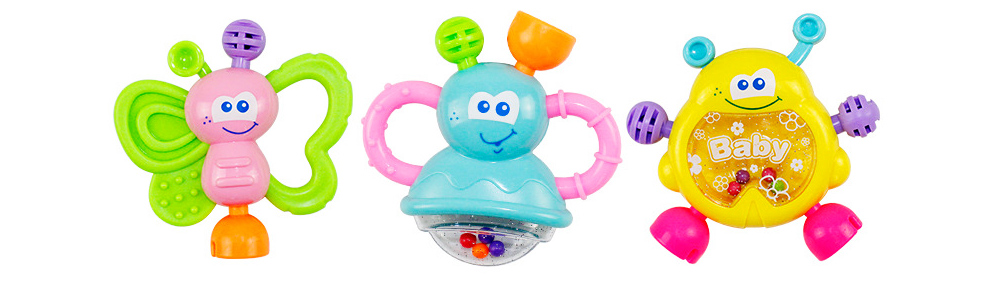 7PCS Cute Cartoon Rattle Suit for Babies, Solid ABS Plastic Delicate Fancy Hand Bell Early Education Puzzle Toy 10