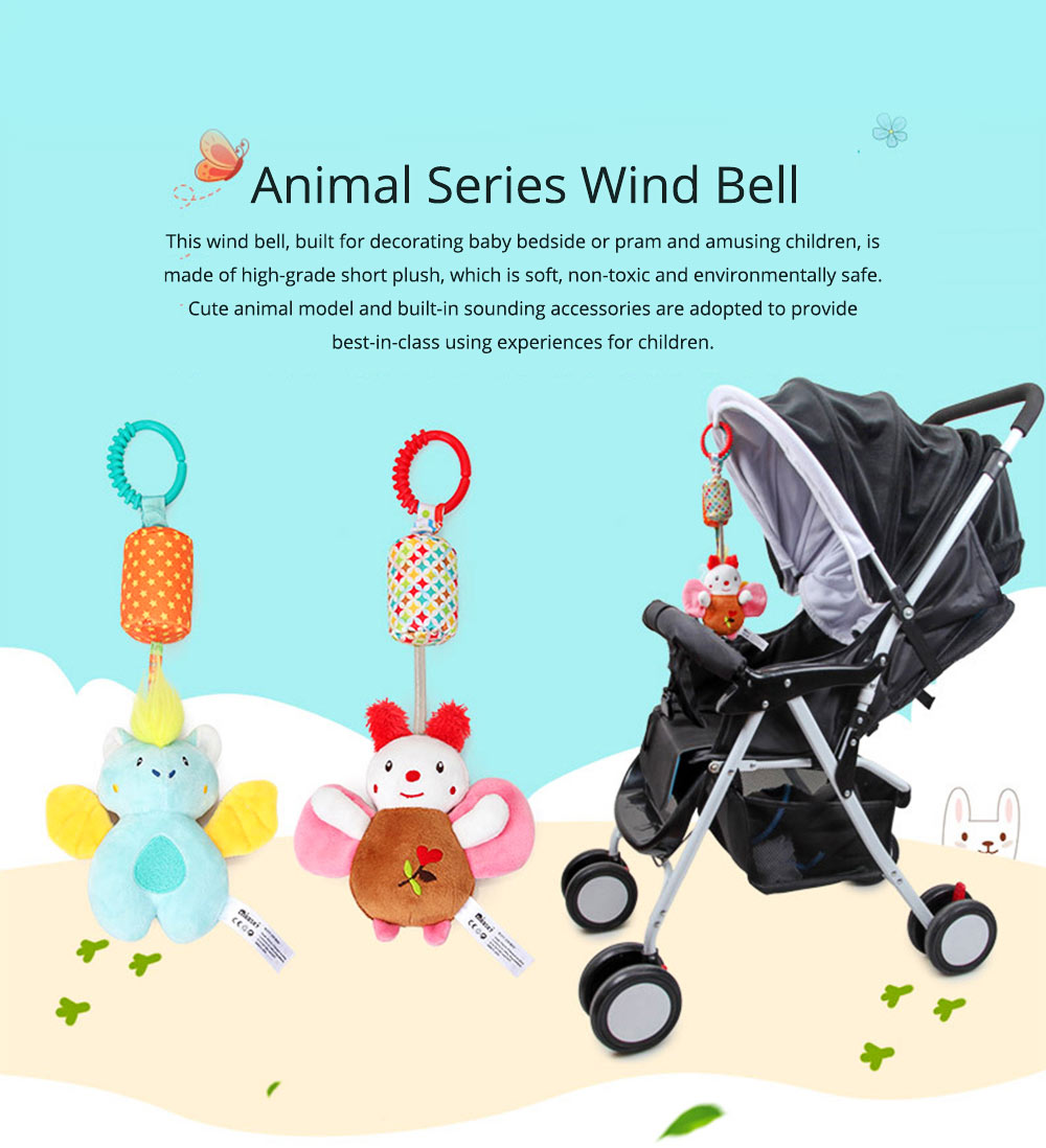 Cute Carton Animal Wind Bell Hanging Pendant, Ultrasoft Short Plush Bedside Pacification Toy for Babies Infants 0