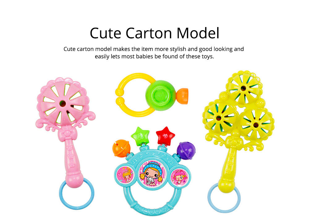 7PCS Cute Cartoon Rattle Suit for Babies, Solid ABS Plastic Delicate Fancy Hand Bell Early Education Puzzle Toy 9