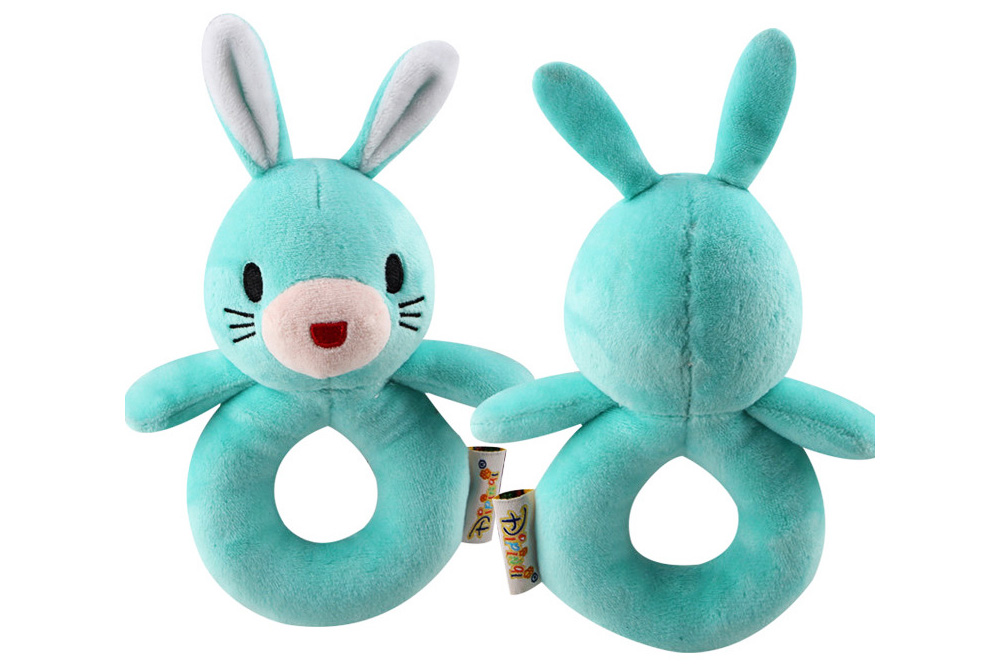 Cute Animal Fluffy Rattle with BB Device, Delicate Triangle Round Hand Grip Hand Bell for Infants 7