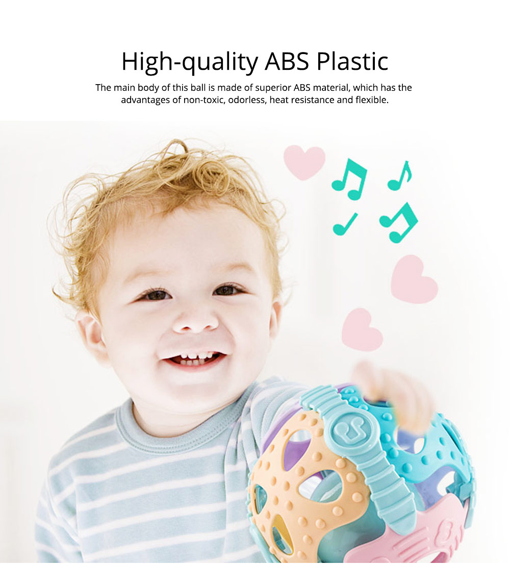 Flexible ABS Plastic Round Fitness Ball Teether Rattle, Delicate Colorful Raised Grain Teeth Grinding Gum Hand Ball for Baby Infants 2