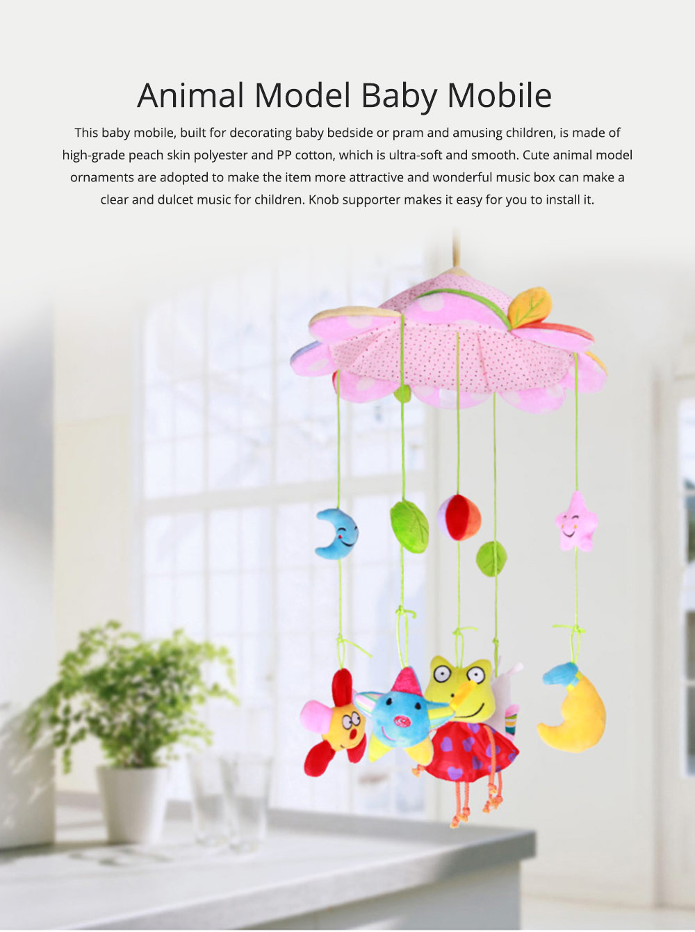 Creative Fluffy Music Rotation Bed Bell Baby Mobile, Cute Carton Ornaments Infants Bed Pram Decorative Toy 0