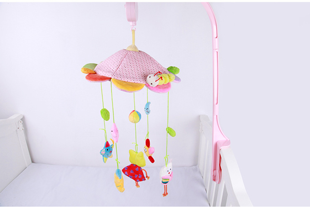 Creative Fluffy Music Rotation Bed Bell Baby Mobile, Cute Carton Ornaments Infants Bed Pram Decorative Toy 10