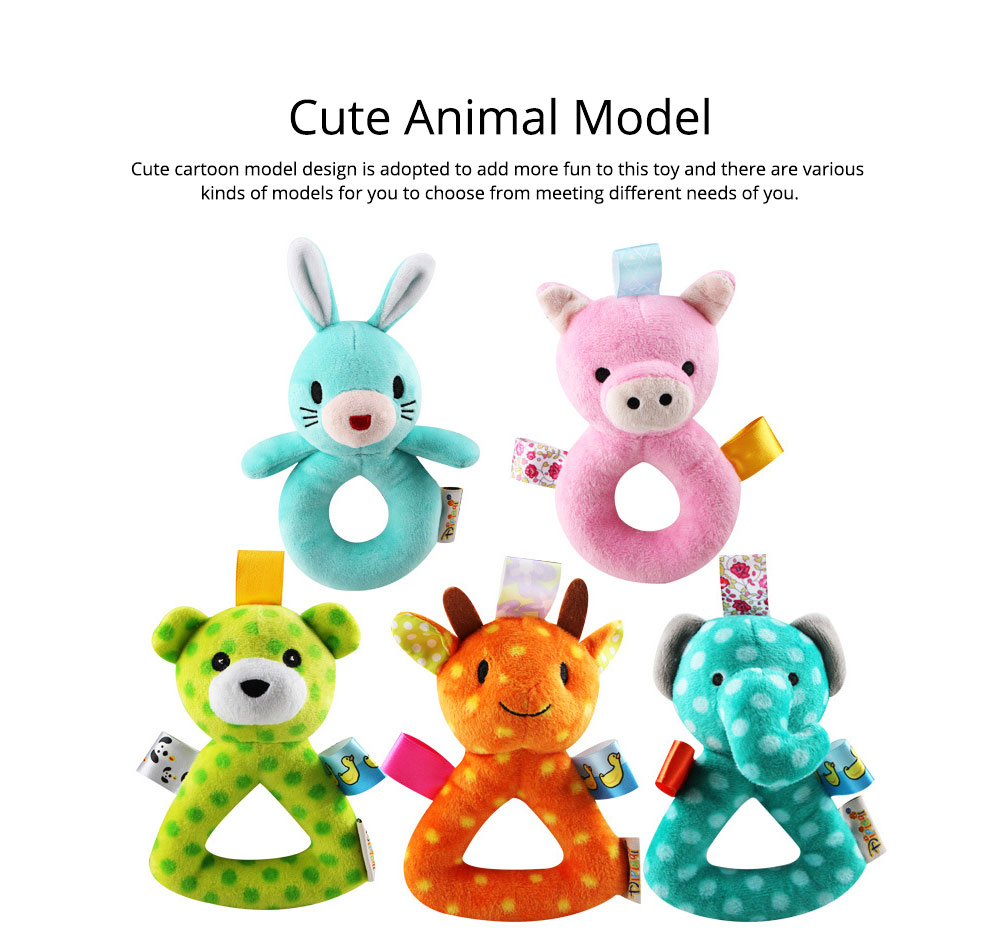 Cute Animal Fluffy Rattle with BB Device, Delicate Triangle Round Hand Grip Hand Bell for Infants 8