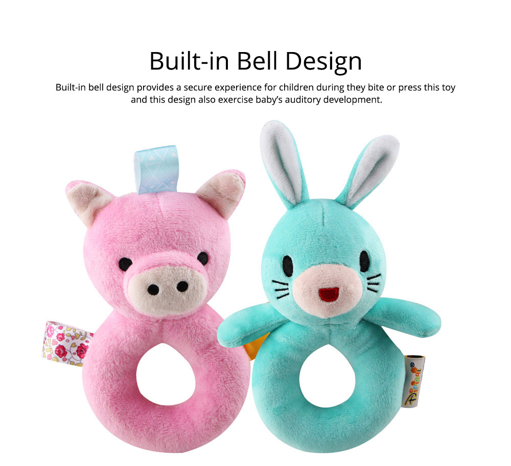 Cute Animal Fluffy Rattle with BB Device, Delicate Triangle Round Hand Grip Hand Bell for Infants 10