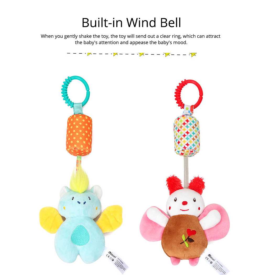 Cute Carton Animal Wind Bell Hanging Pendant, Ultrasoft Short Plush Bedside Pacification Toy for Babies Infants 6
