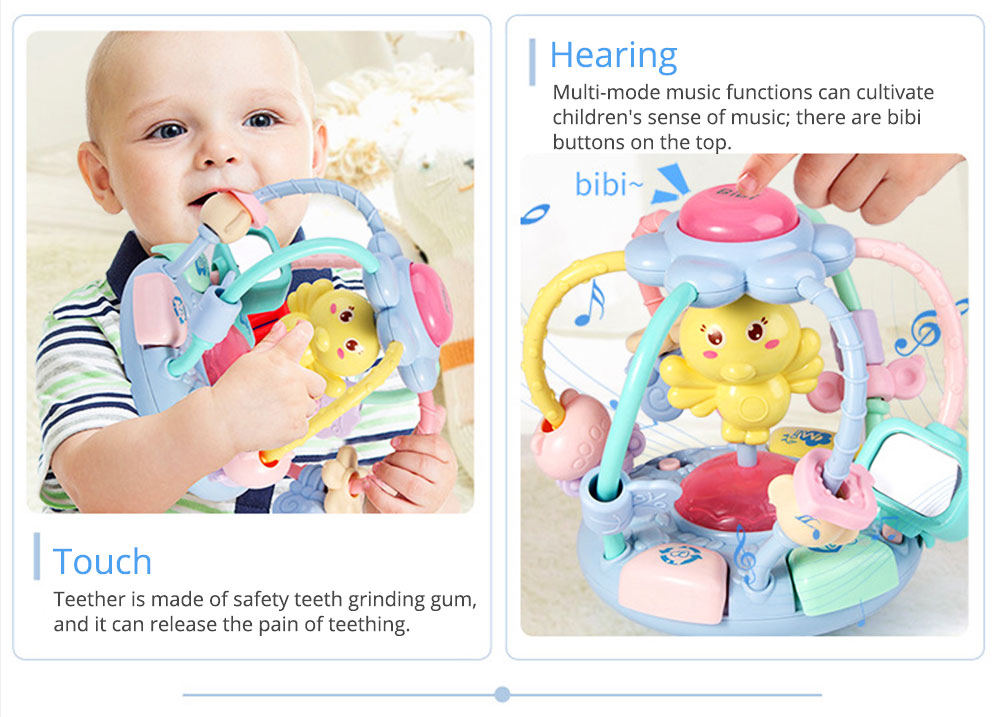 Cute Cartoon Chick Babies Teether Rattle, Baby Beads Grasping Ball Music Light Early Education Toy 3