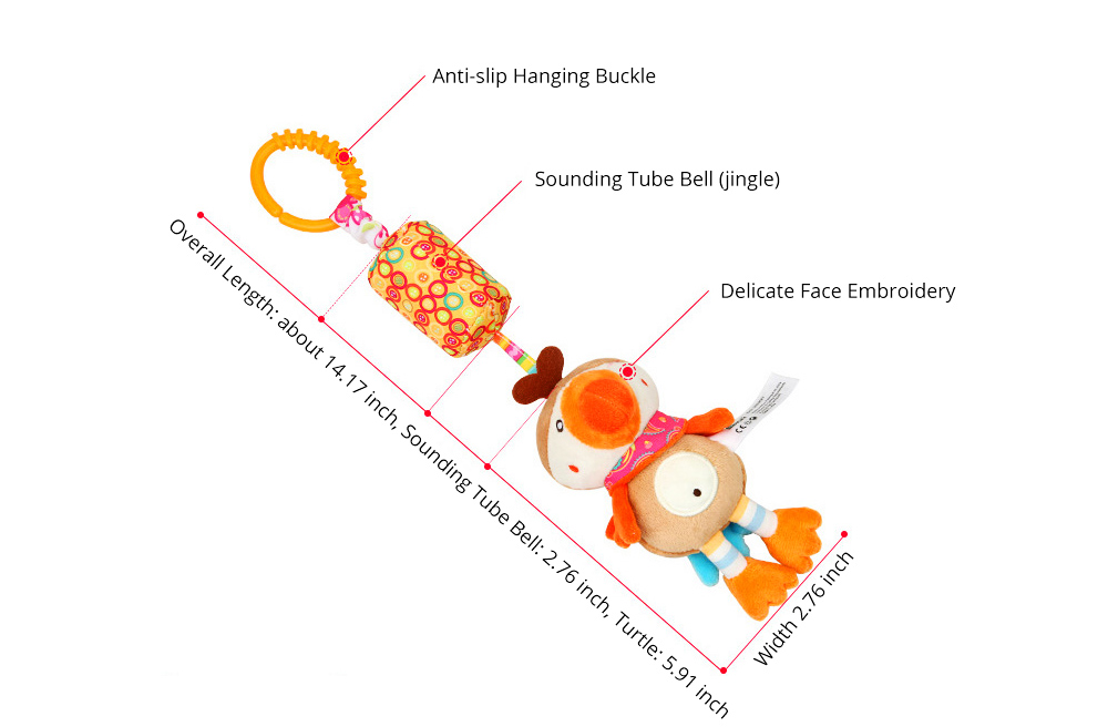 Cute Carton Animal Wind Bell Hanging Pendant, Ultrasoft Short Plush Bedside Pacification Toy for Babies Infants 12