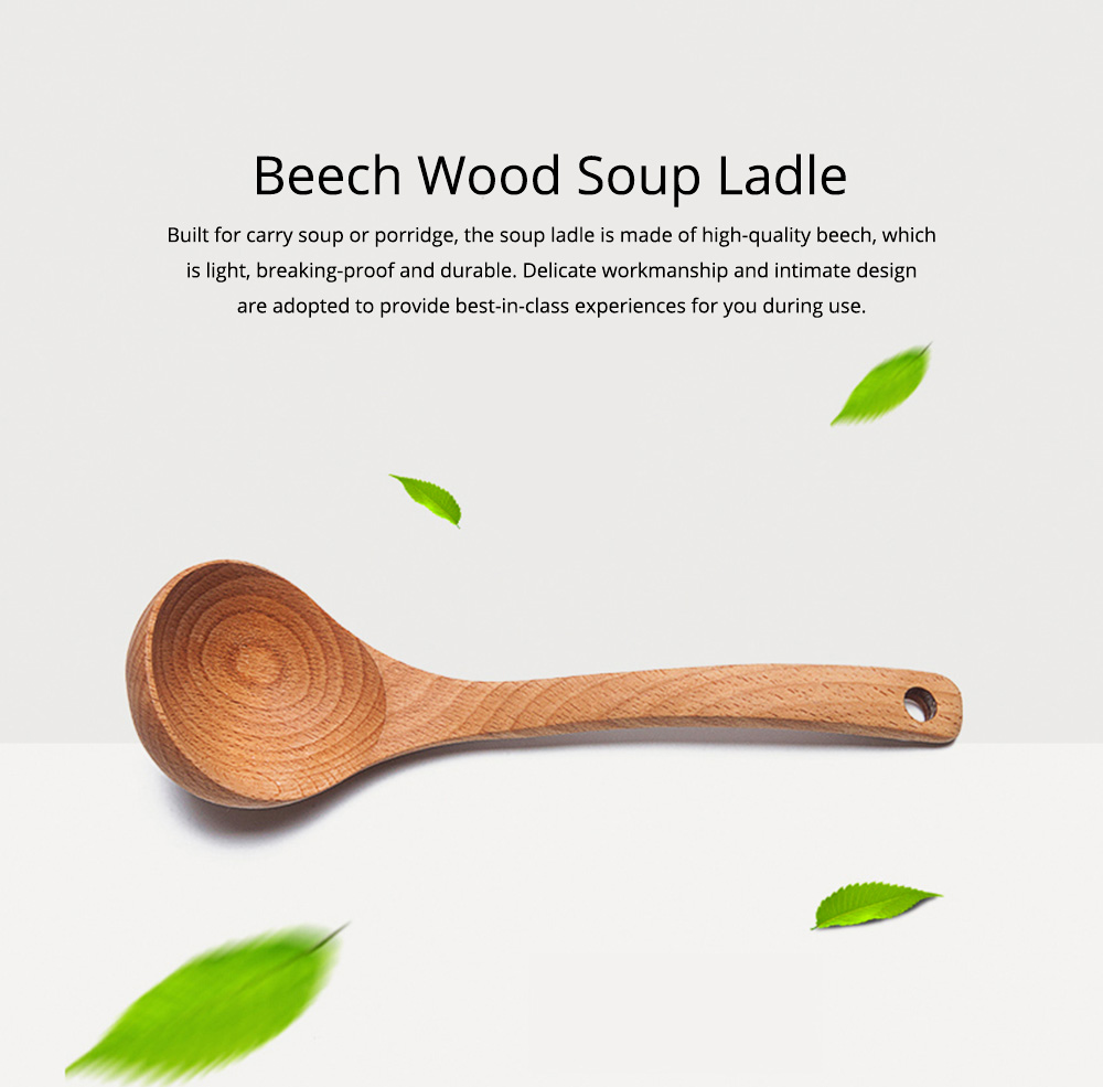 Minimalist Delicate Beech Wood Rice Porridge Soup Ladle, Non-toxic Lacquer-free Large Spoon with Long Handle 0