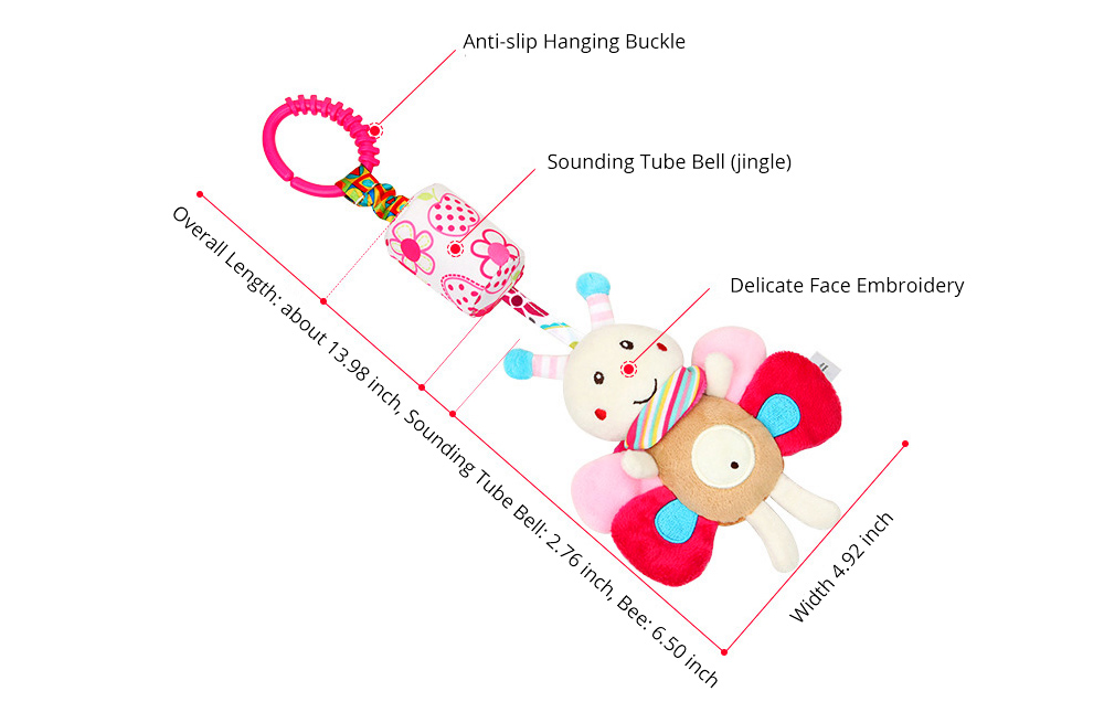 Cute Carton Animal Wind Bell Hanging Pendant, Ultrasoft Short Plush Bedside Pacification Toy for Babies Infants 15