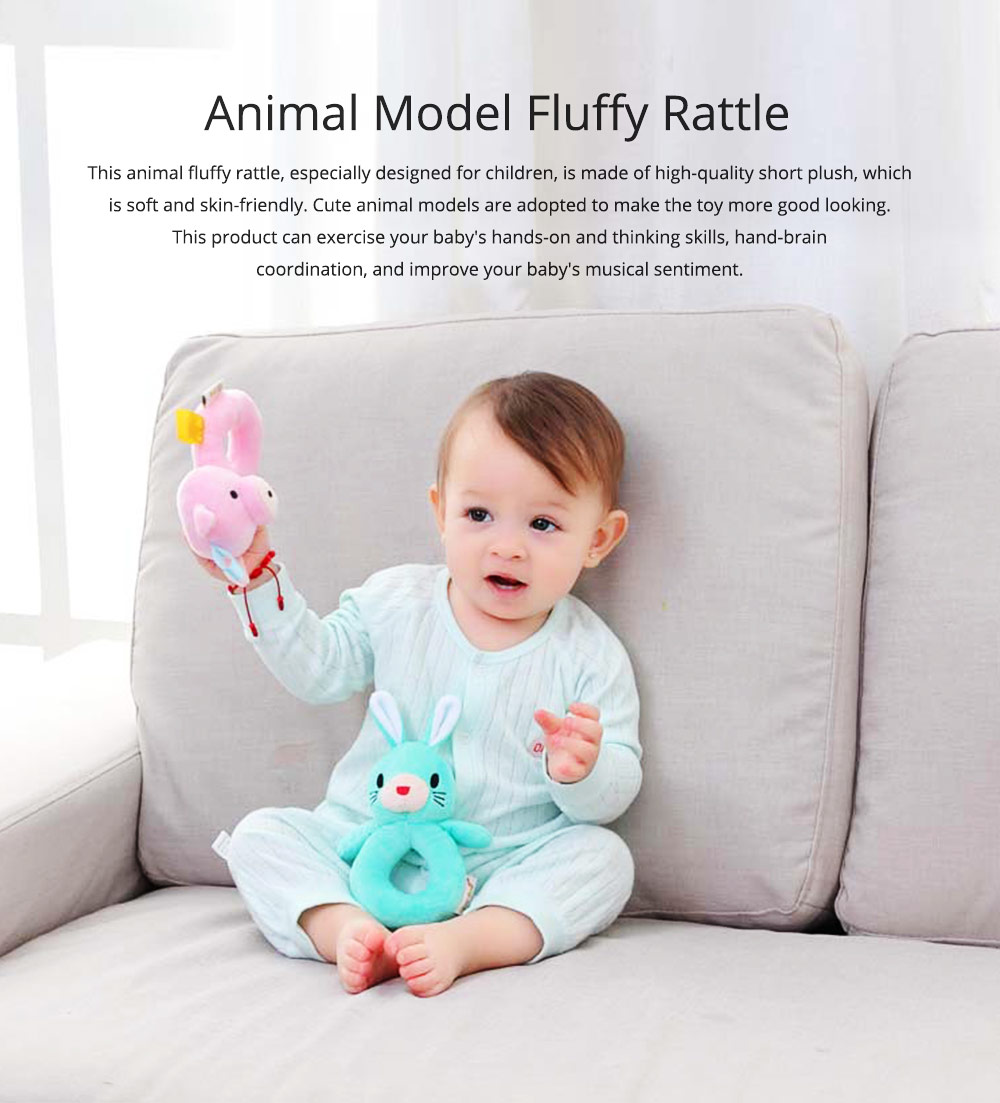 Cute Animal Fluffy Rattle with BB Device, Delicate Triangle Round Hand Grip Hand Bell for Infants 0
