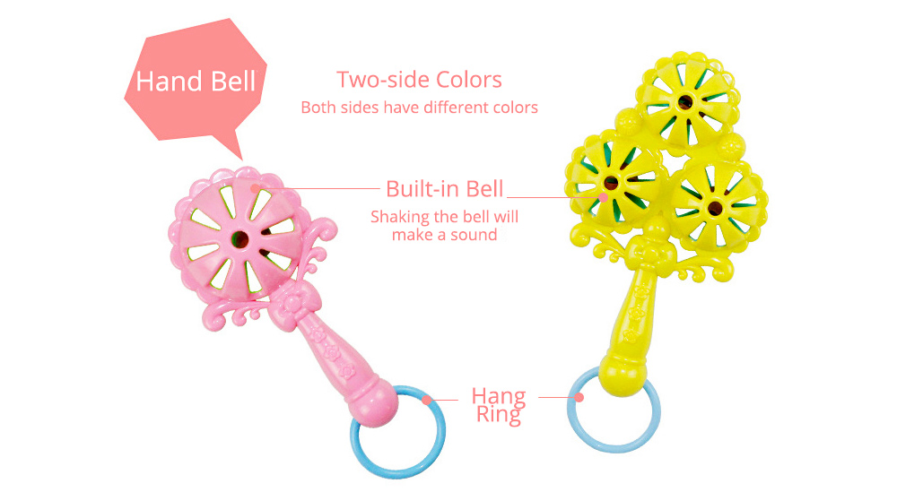 7PCS Cute Cartoon Rattle Suit for Babies, Solid ABS Plastic Delicate Fancy Hand Bell Early Education Puzzle Toy 8