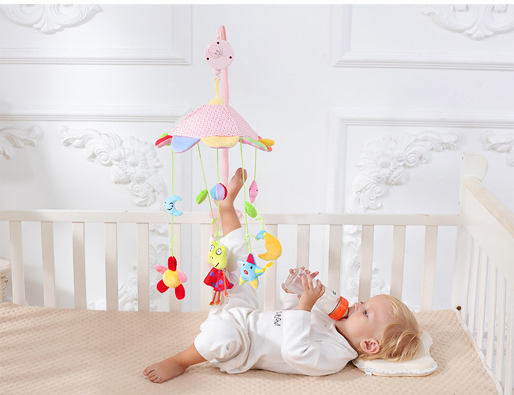 Creative Fluffy Music Rotation Bed Bell Baby Mobile, Cute Carton Ornaments Infants Bed Pram Decorative Toy 7