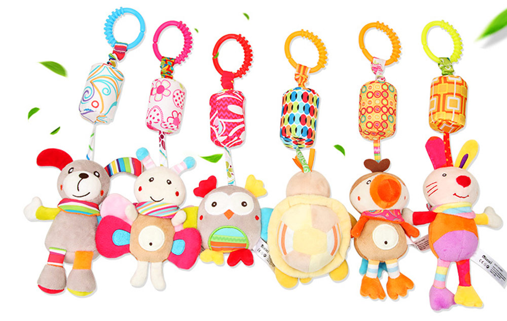 Cute Carton Animal Wind Bell Hanging Pendant, Ultrasoft Short Plush Bedside Pacification Toy for Babies Infants 1