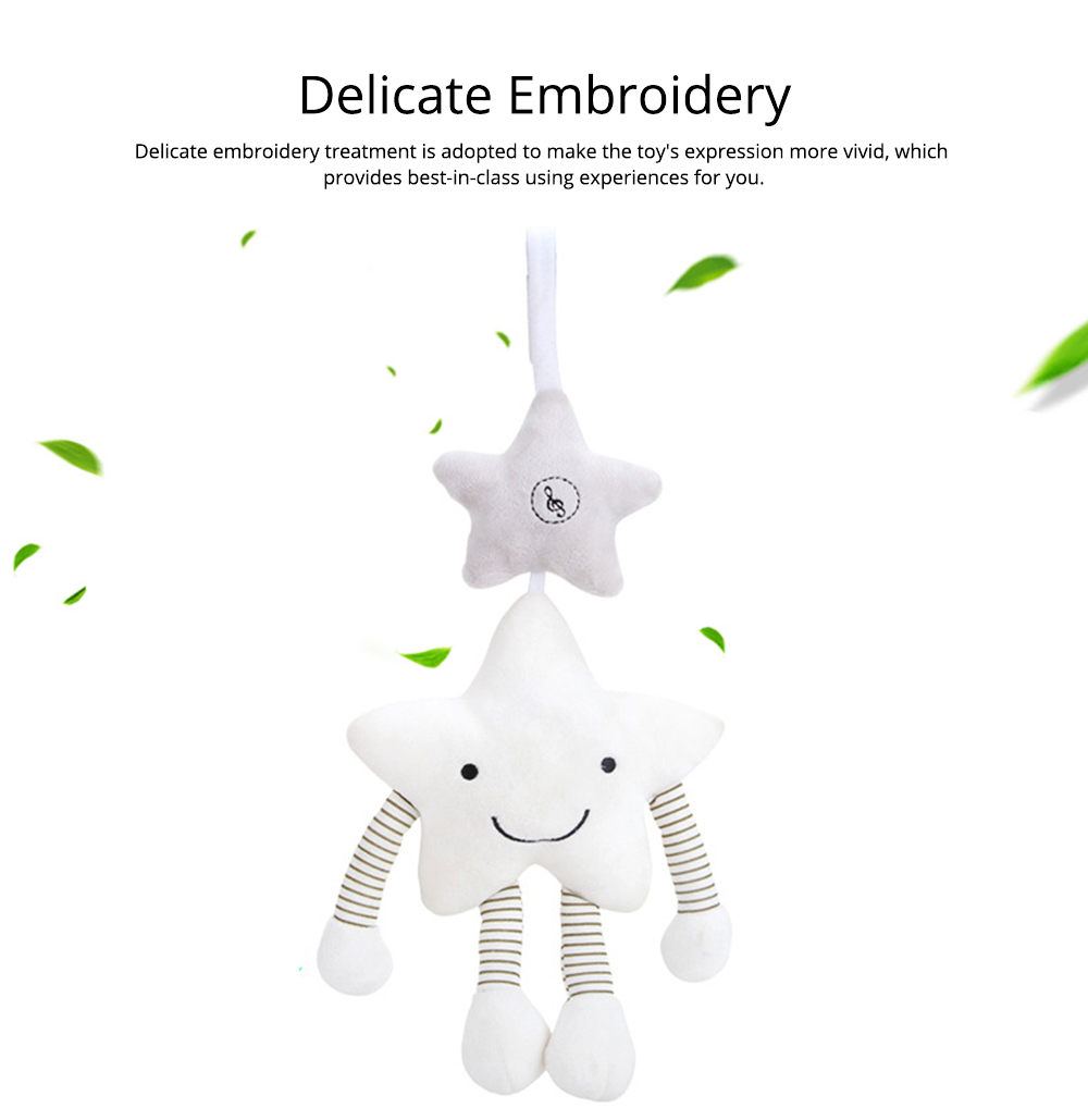 Cute Star Music Wind Bell Bed Bell Pram Pendant, Ultrasoft Plush Bedside Decoration Ornament Puzzle Early Education Toy 4