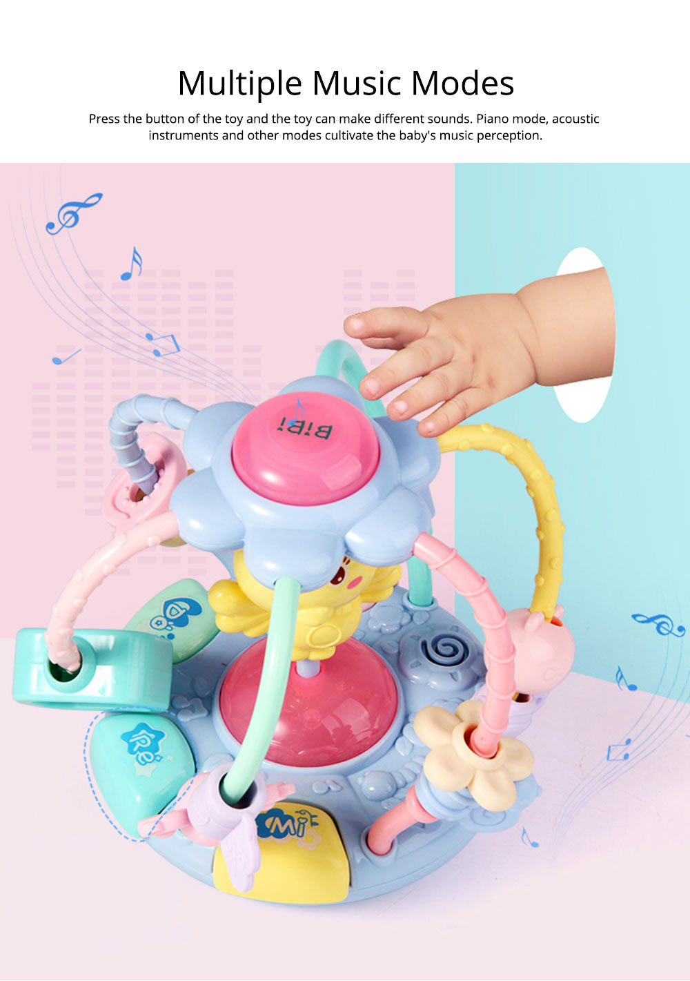 Cute Cartoon Chick Babies Teether Rattle, Baby Beads Grasping Ball Music Light Early Education Toy 8