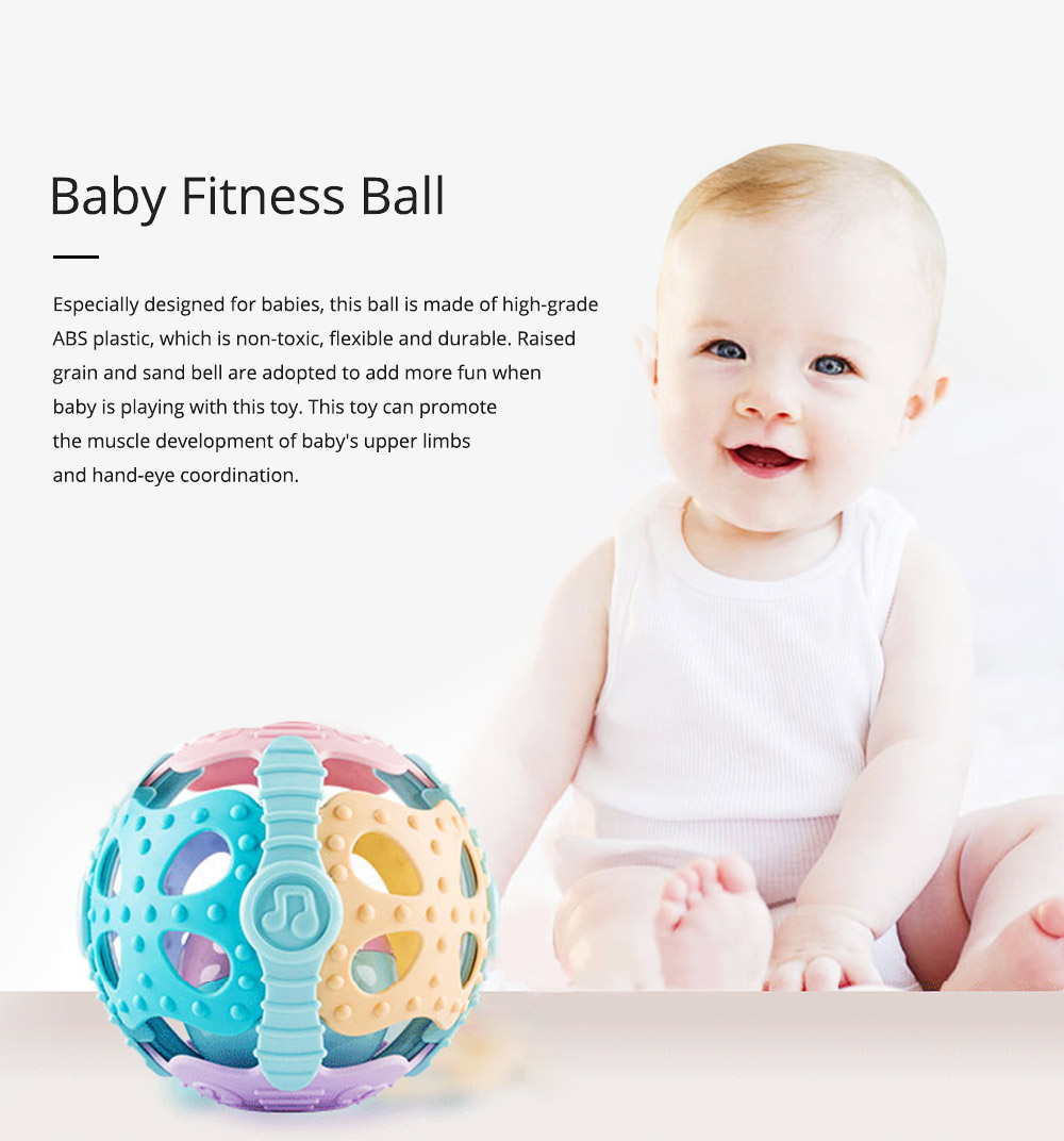 Flexible ABS Plastic Round Fitness Ball Teether Rattle, Delicate Colorful Raised Grain Teeth Grinding Gum Hand Ball for Baby Infants 0