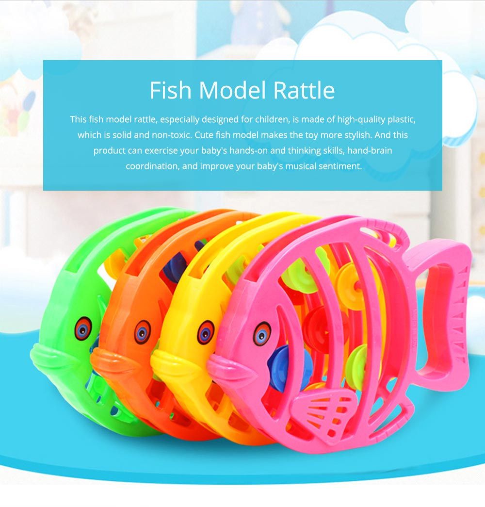Delicate Fish Rattle for Infants, Colorful Plastic Breaking-proof Secure Babies Hand Bell Pacification Toy 0