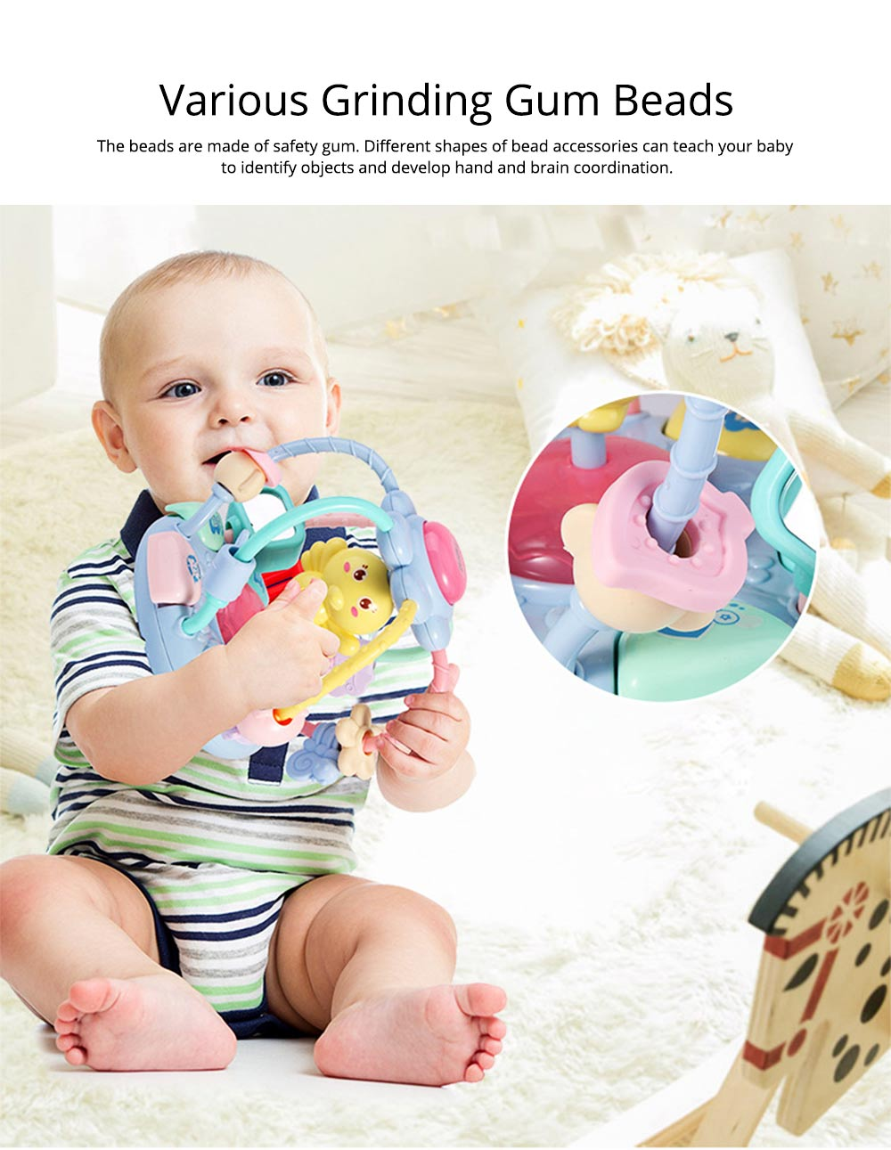 Cute Cartoon Chick Babies Teether Rattle, Baby Beads Grasping Ball Music Light Early Education Toy 12