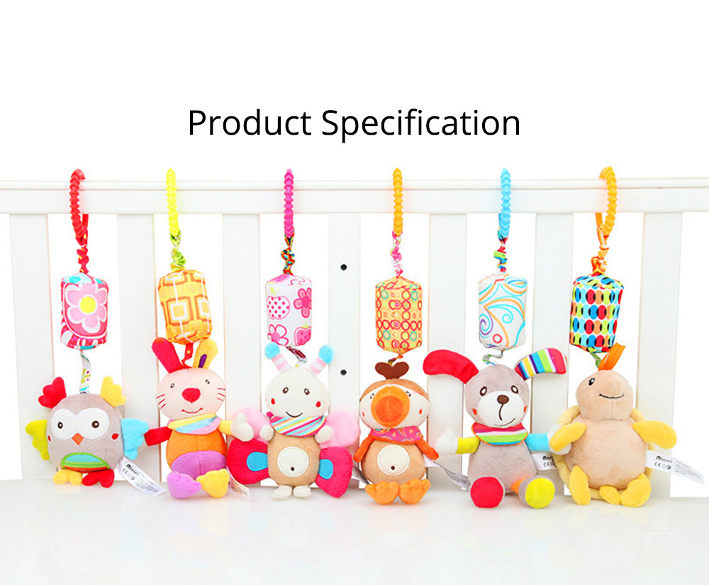 Cute Carton Animal Wind Bell Hanging Pendant, Ultrasoft Short Plush Bedside Pacification Toy for Babies Infants 18