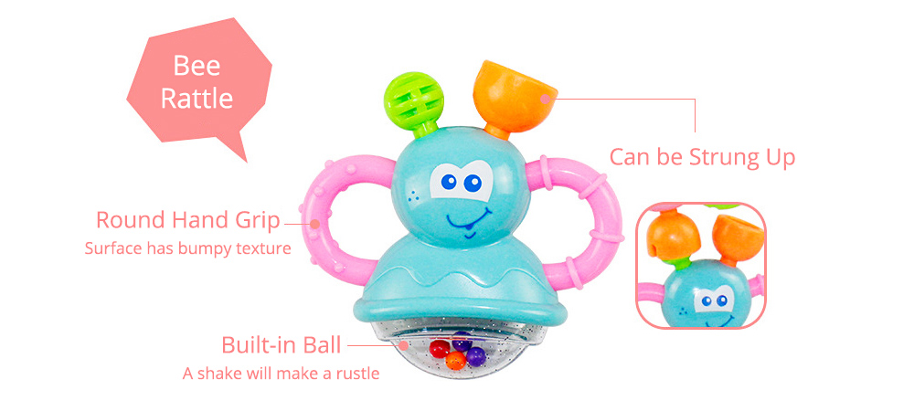 7PCS Cute Cartoon Rattle Suit for Babies, Solid ABS Plastic Delicate Fancy Hand Bell Early Education Puzzle Toy 5