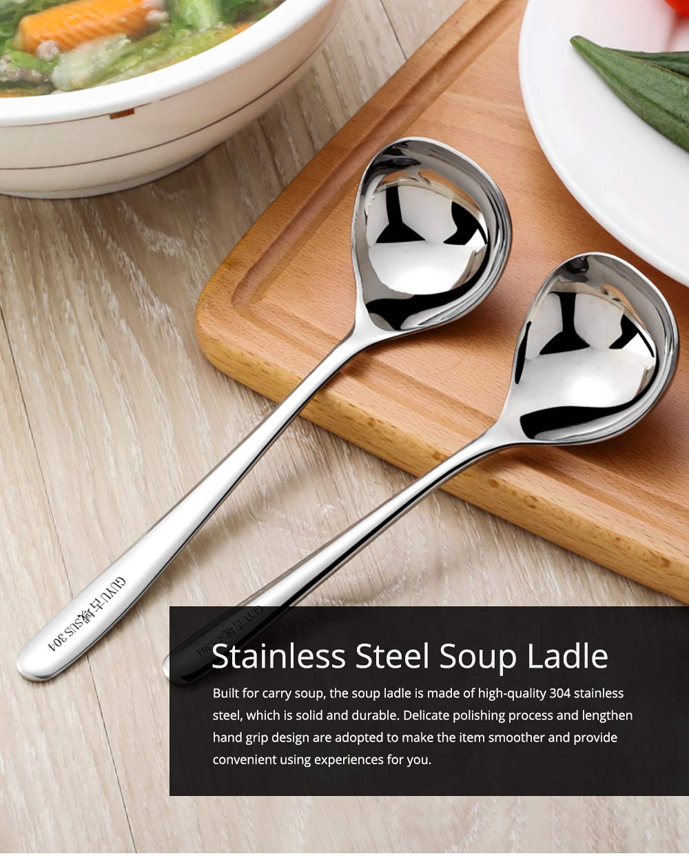 Solid Delicate 304 Stainless Steel Soup Ladle Table Spoon, Smooth Deepen Thicken Porridge Spoon with Long Handle 0