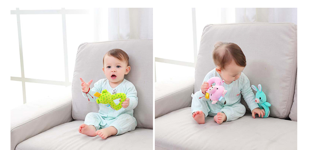 Cute Animal Fluffy Rattle with BB Device, Delicate Triangle Round Hand Grip Hand Bell for Infants 9
