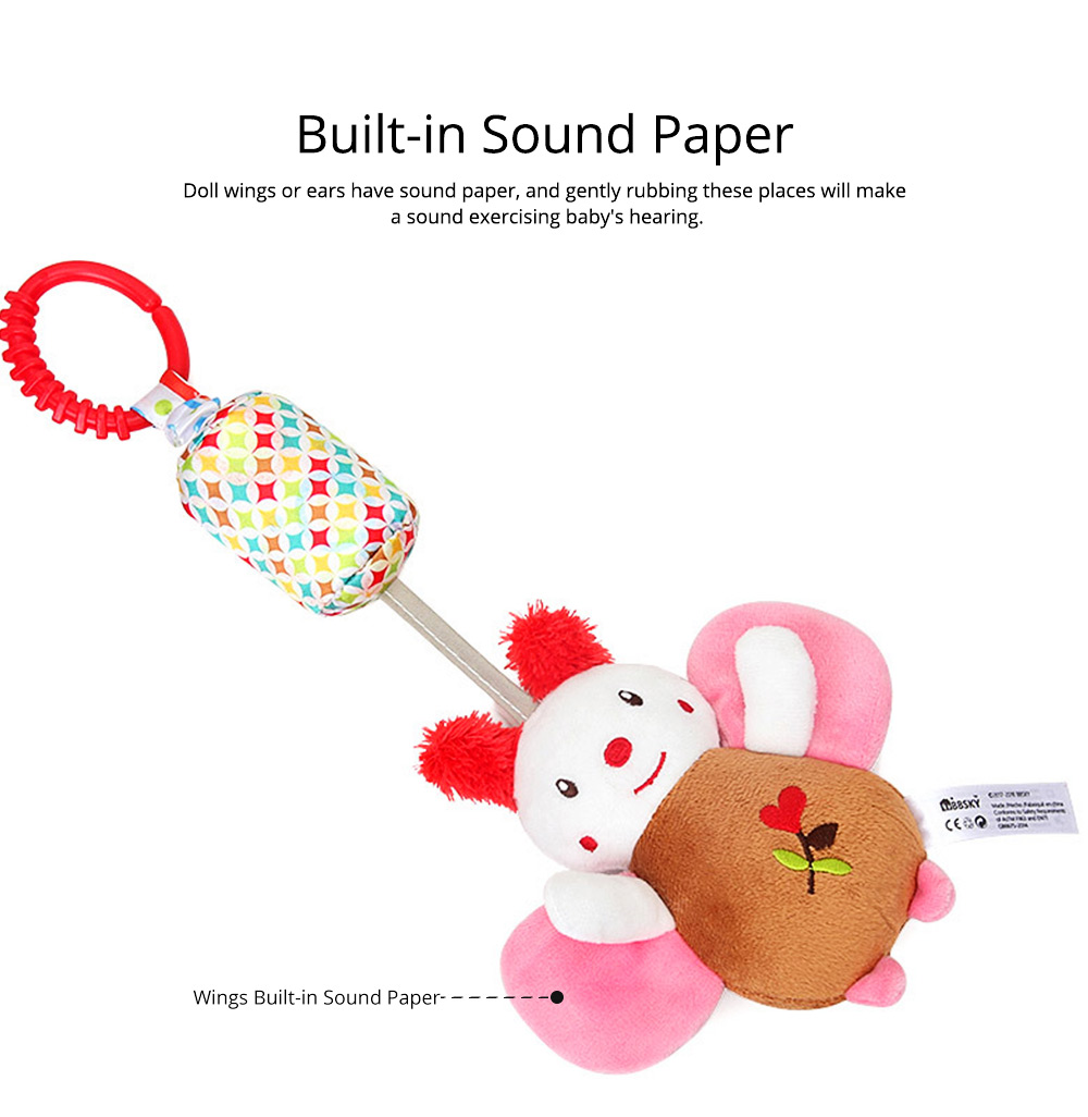 Cute Carton Animal Wind Bell Hanging Pendant, Ultrasoft Short Plush Bedside Pacification Toy for Babies Infants 8