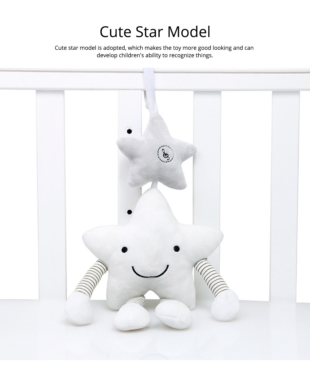 Cute Star Music Wind Bell Bed Bell Pram Pendant, Ultrasoft Plush Bedside Decoration Ornament Puzzle Early Education Toy 5