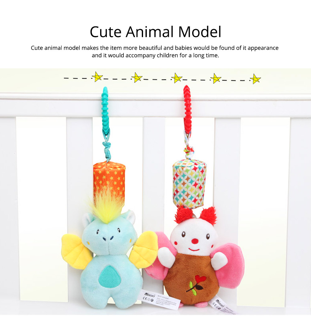 Cute Carton Animal Wind Bell Hanging Pendant, Ultrasoft Short Plush Bedside Pacification Toy for Babies Infants 11