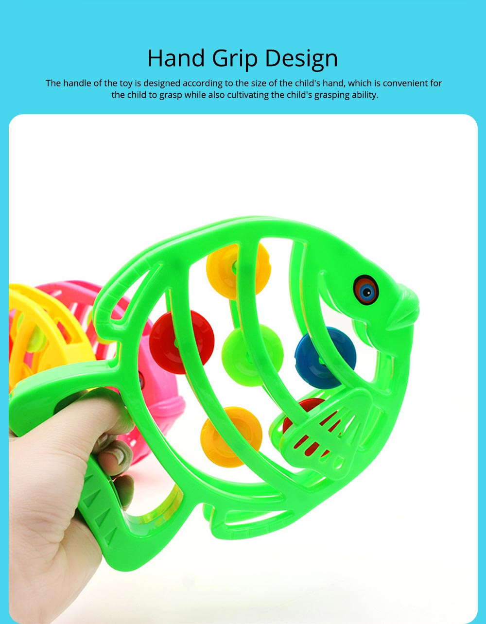 Delicate Fish Rattle for Infants, Colorful Plastic Breaking-proof Secure Babies Hand Bell Pacification Toy 3