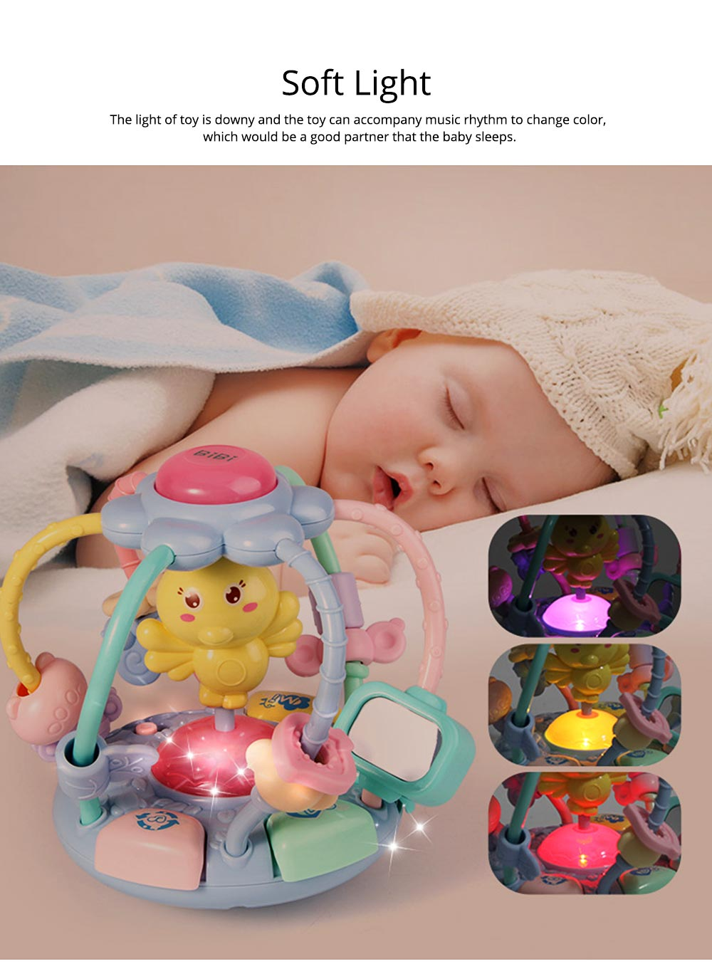 Cute Cartoon Chick Babies Teether Rattle, Baby Beads Grasping Ball Music Light Early Education Toy 11