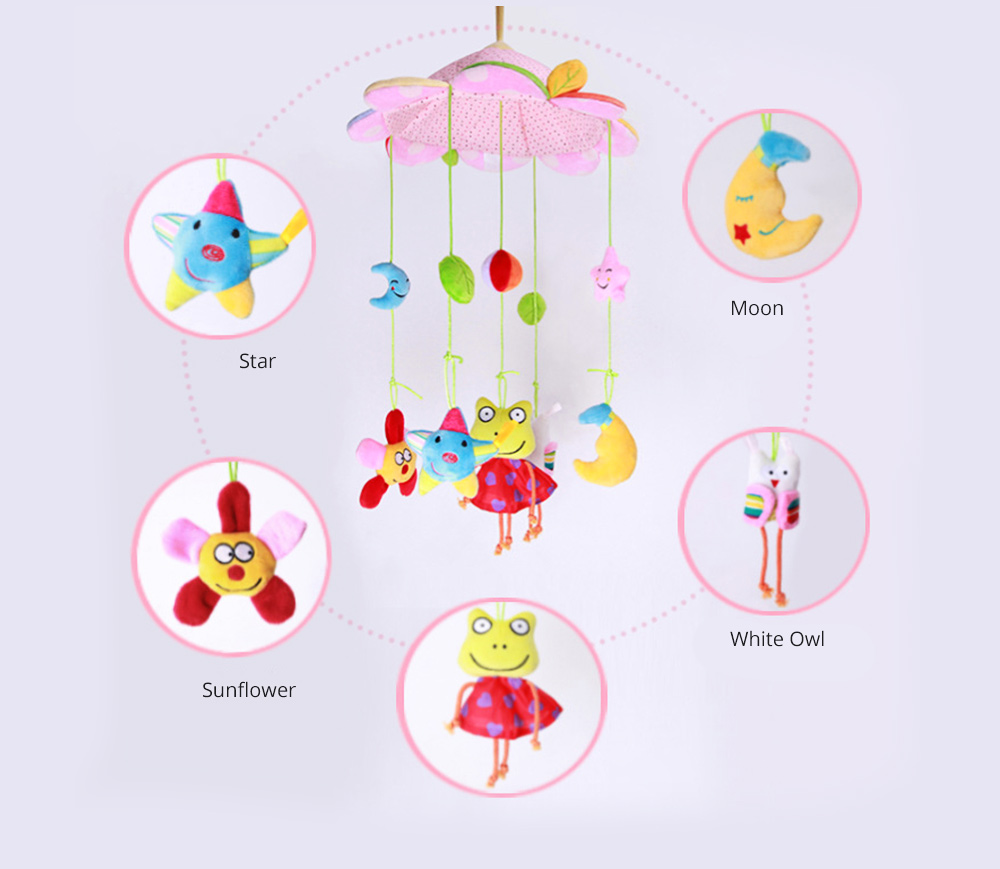 Creative Fluffy Music Rotation Bed Bell Baby Mobile, Cute Carton Ornaments Infants Bed Pram Decorative Toy 3