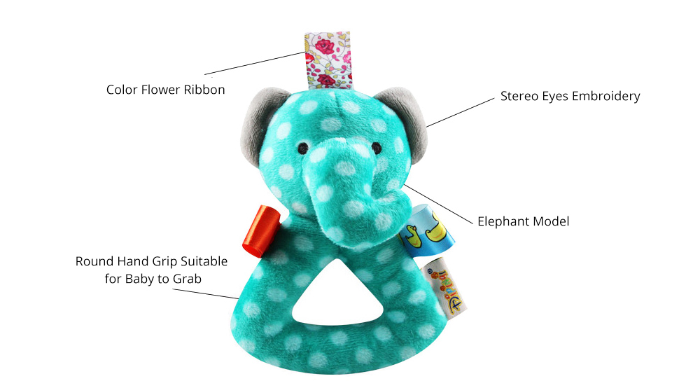Cute Animal Fluffy Rattle with BB Device, Delicate Triangle Round Hand Grip Hand Bell for Infants 2